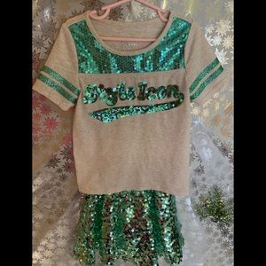 JUSTICE 2 pc SEQUIN SKIRT SET FOR GIRLS Sz 6/7